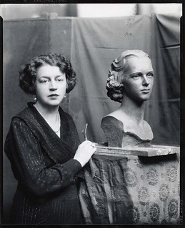 Margaret French Cresson, American sculptor, 1889-1973, standing beside bust of Nathalie Osborn | by Smithsonian Institution