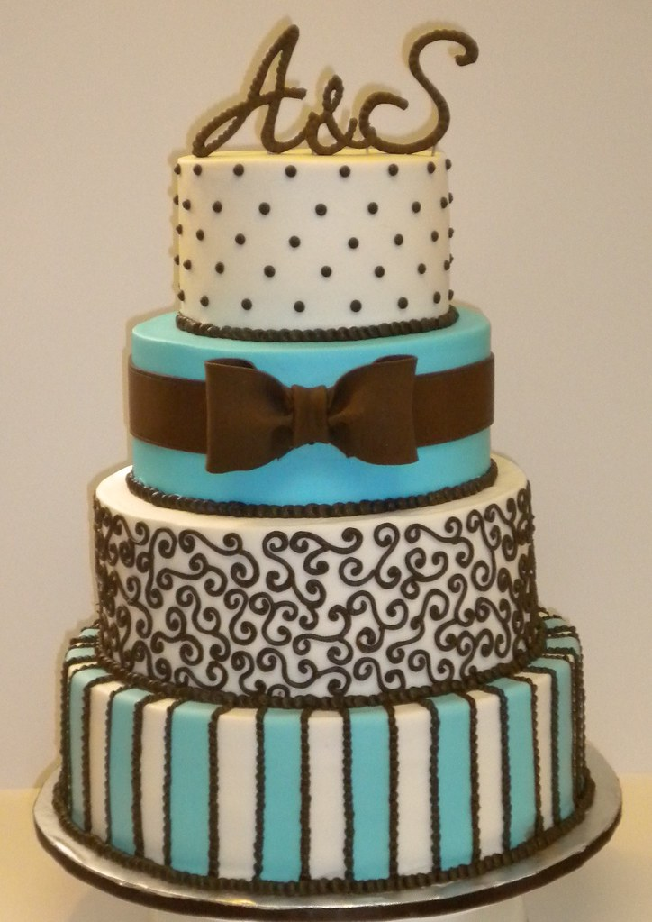blue and brown wedding cakes blue and brown wedding cake bow and blue stripes are 11942