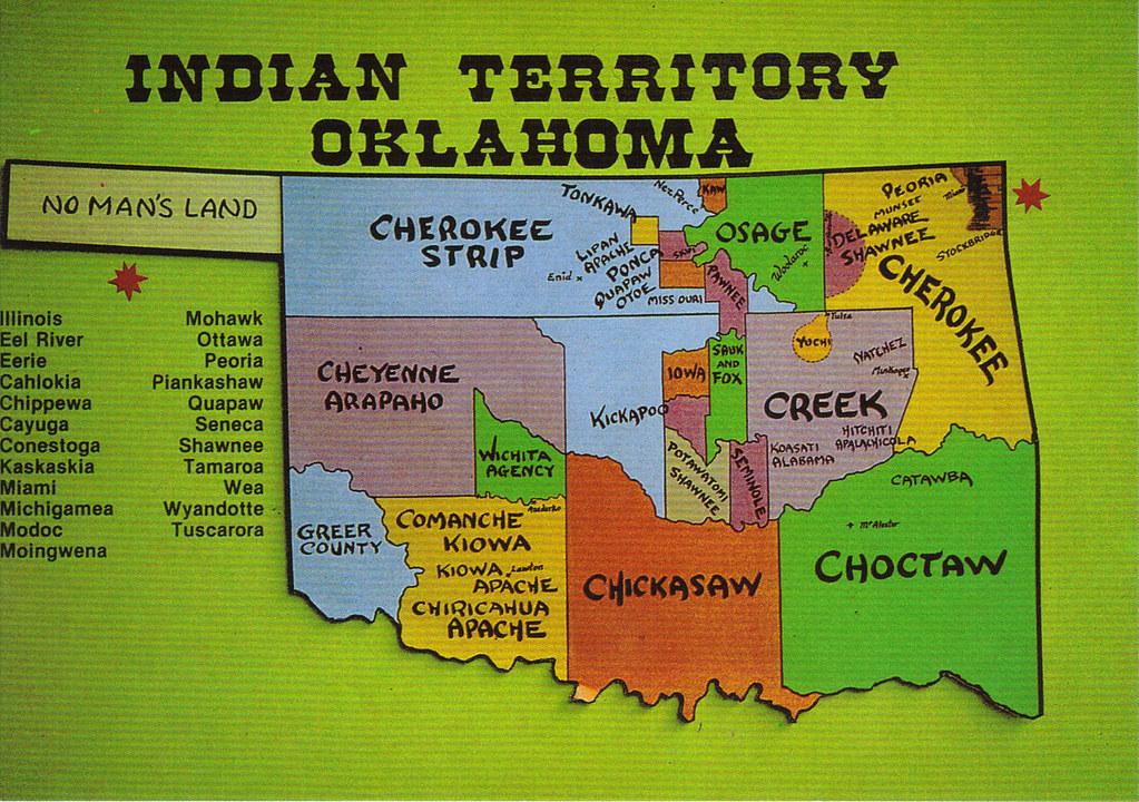 Oklahoma indian territory map postcard oklahoma s name is