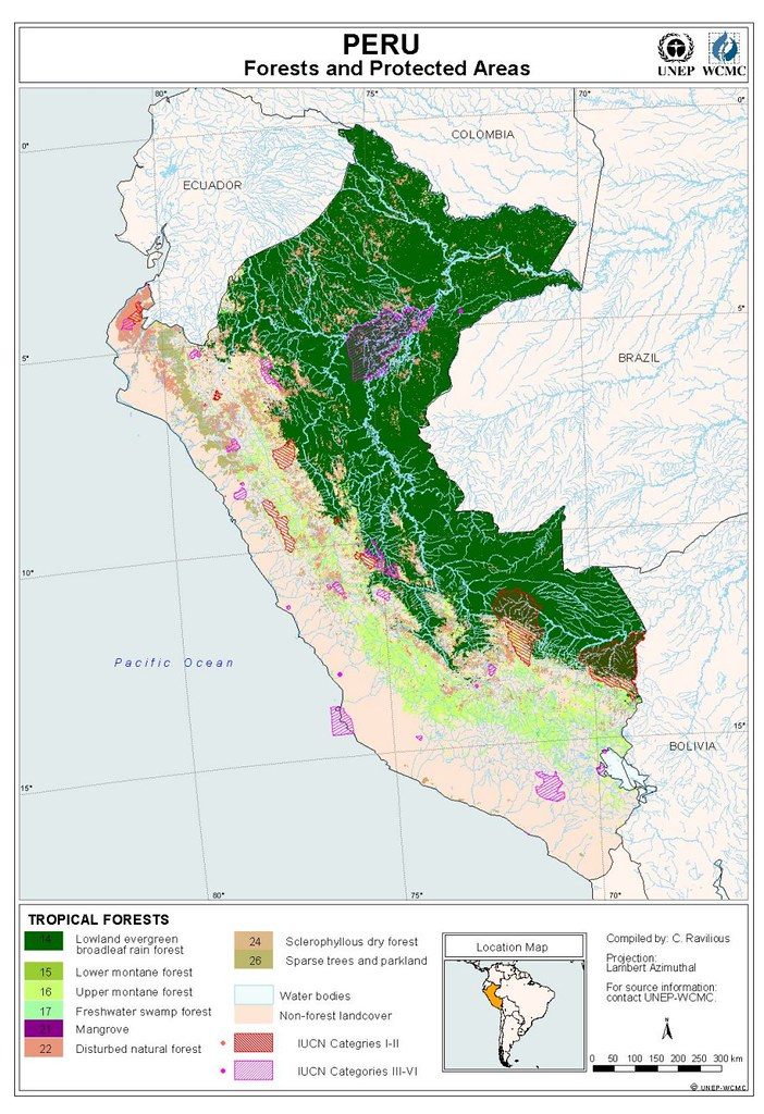 Map Of Forests And Protected Areas Of Peru Douglas