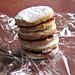 stack of raspberry sandwich cookies