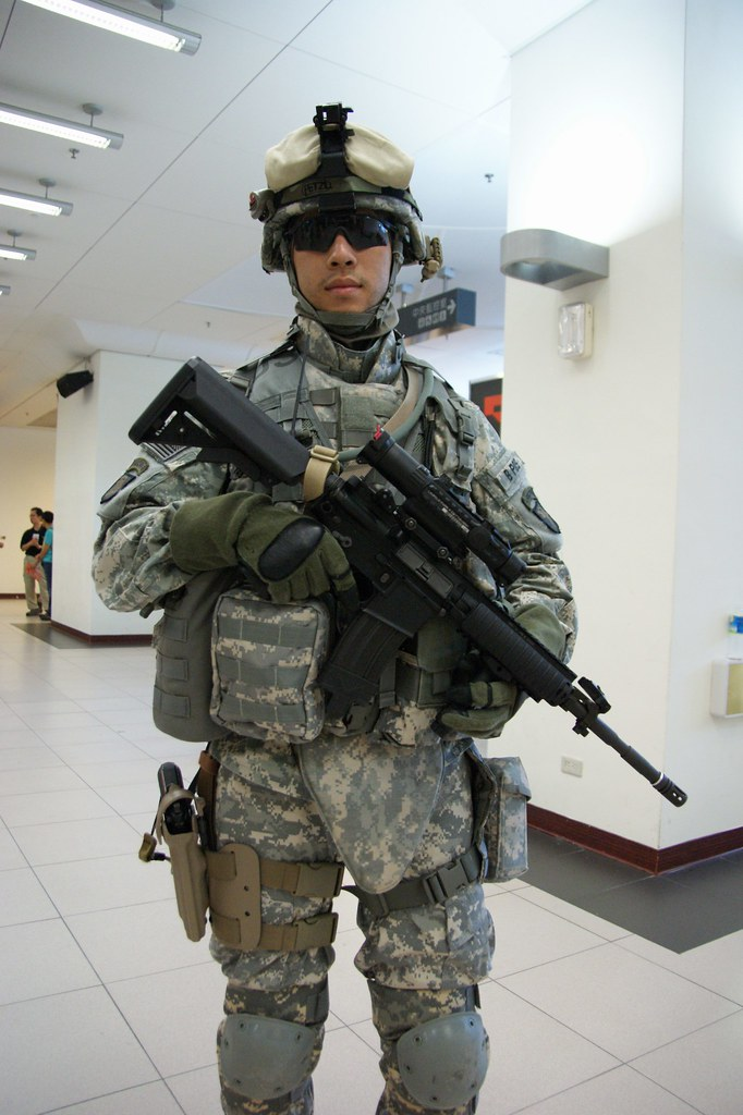modern us soldier in acu army combat uniform with a m4a
