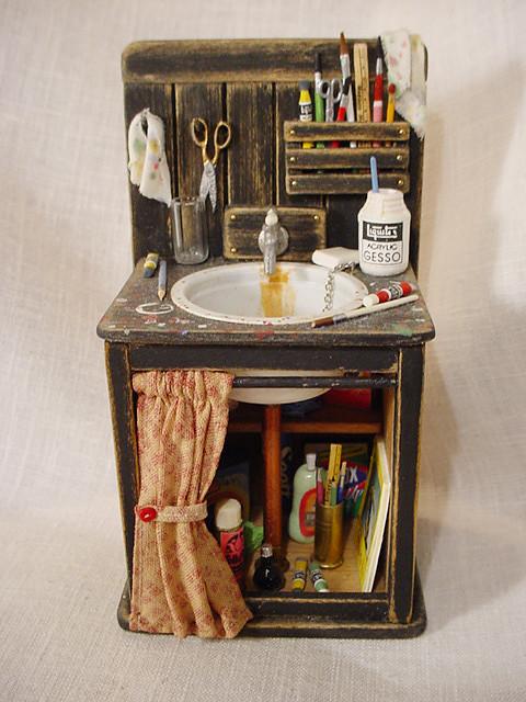 Miniature Art Studio Sink 1 Quot Scale For Dollhouse 2 Quot Wide