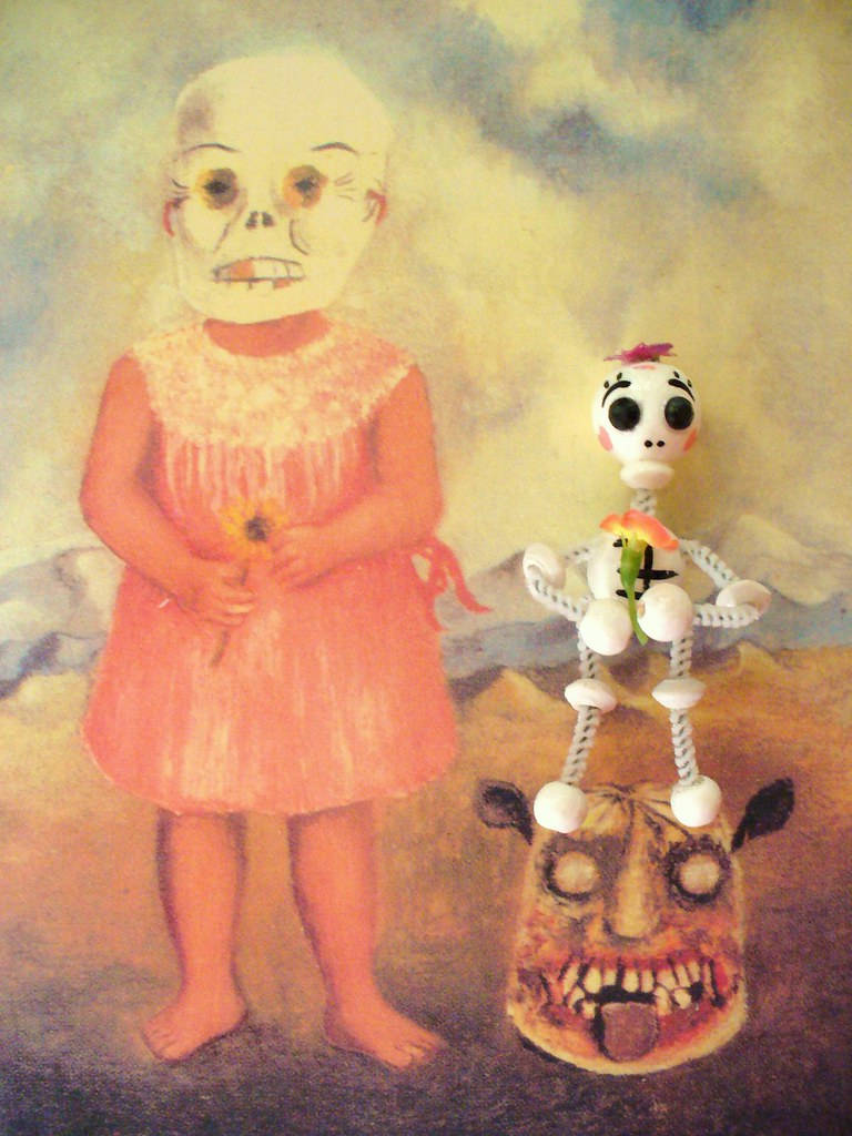 'Girl With Death Mask' Frida Kahlo 1938 (with Skelly baby