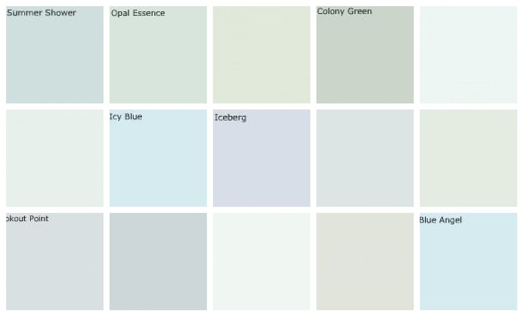Light blue paint colors designers 39 favorites top row for Light gray color swatch