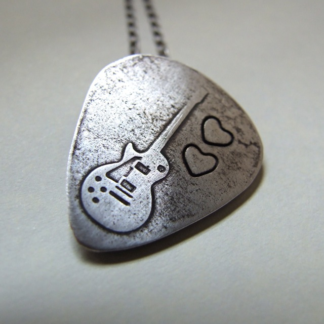 guitar pick plectrum necklace made from art clay silver p flickr. Black Bedroom Furniture Sets. Home Design Ideas