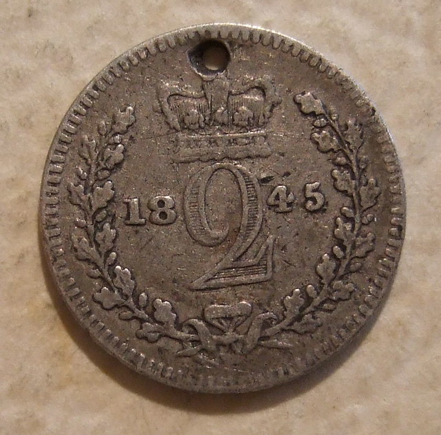 Great Britain Victoria Silver Tuppence Maundy Money 1