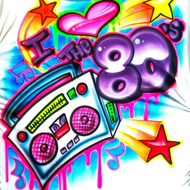 I love the 80 39 s party shirts art by herby at airbrush nati - I love 80s wallpaper ...