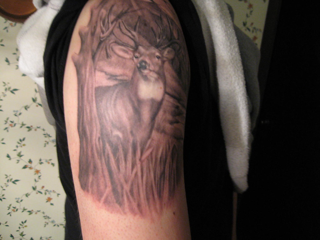 Deer Tattoo Buck Woods Grass Tree Mountains River Finished