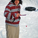 Freddy K in the snow with a Barbie paddleball
