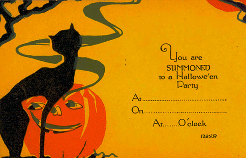 Vintage halloween invitation with original envelope flickr for Vintage halloween party invitations