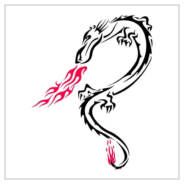 spitting fire tribal dragon dragon tattoo designs flickr. Black Bedroom Furniture Sets. Home Design Ideas