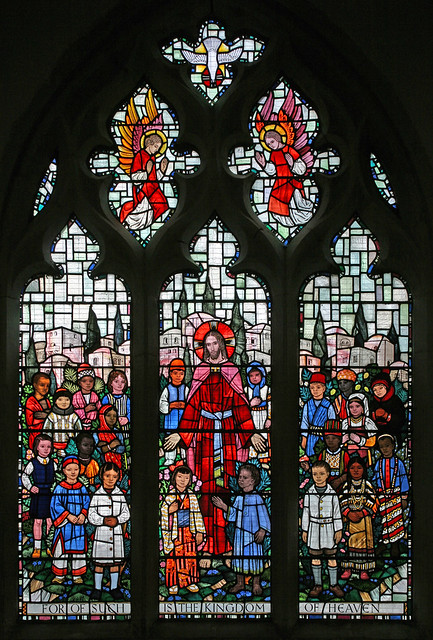 Christ and the children, Soham Stained glass window in the… Flickr