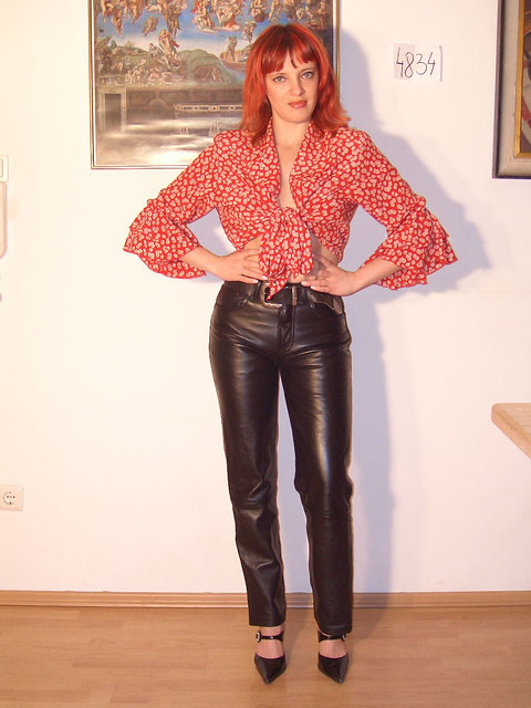 German Girl In Black Levis Leather Pants  Kniffo Berlin -5409