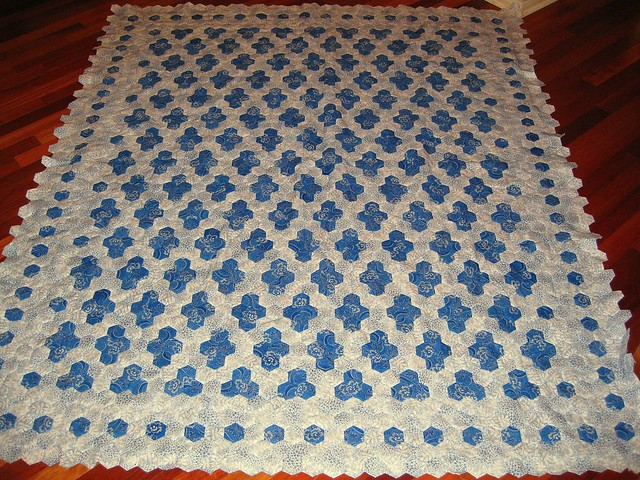 Blue Tiles Hexagon Quilt English Paper Pieced Quilt