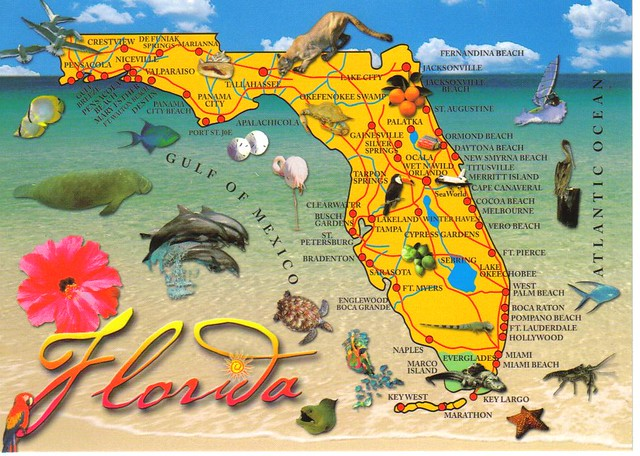 Large Florida map postcard 2 available Erin Flickr