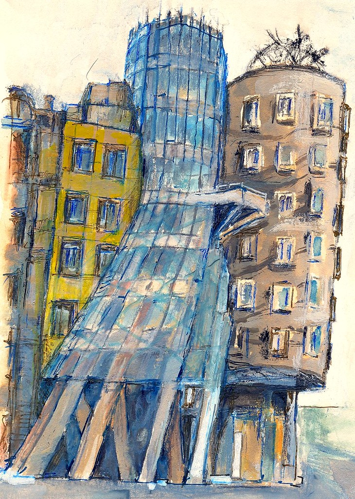 Prague (The Dancing House) | Coloured drawing (Copic ...