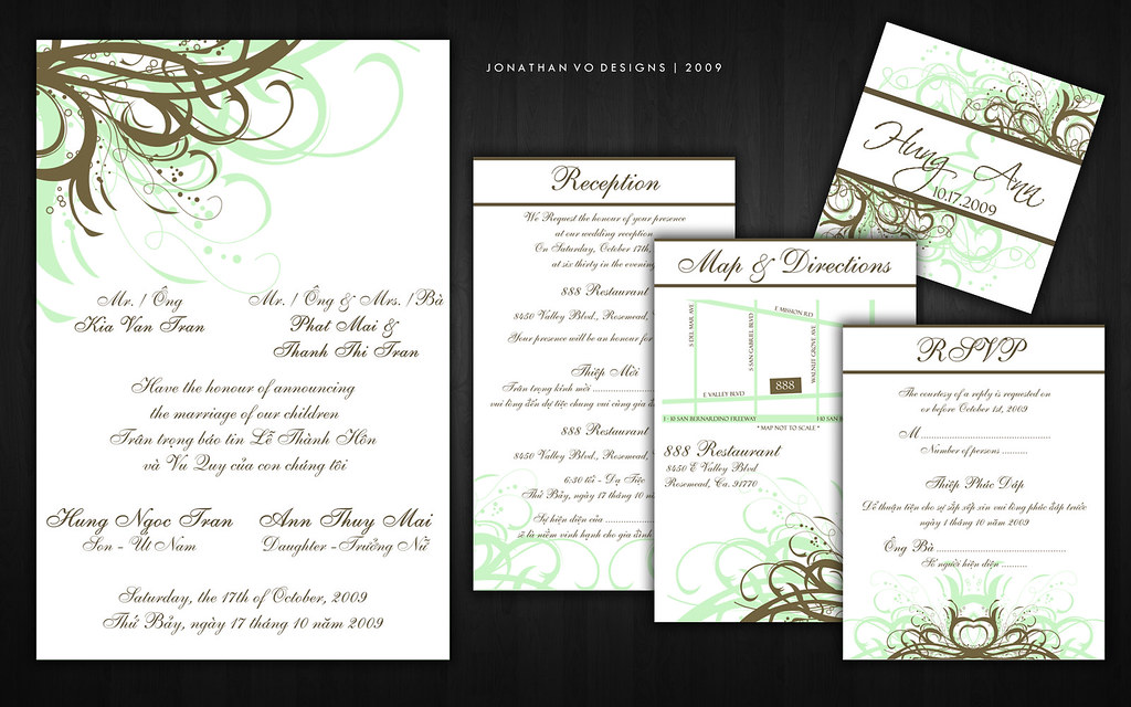 green and brown vietnamese wedding invitations please cont flickr - Vietnamese Wedding Invitation