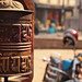 A prayer wheel in a temple
