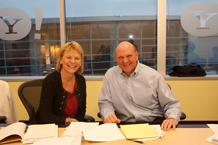 Carol Bartz & Steve Ballmer just after their media/analyst conference call | by Yahoo Inc