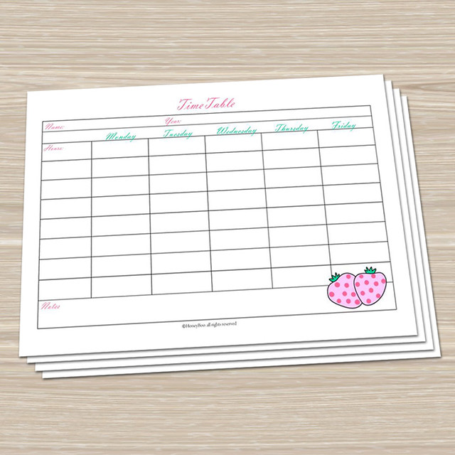 Strawberry - Printable TimeTable | Ready to print timetable … | Flickr