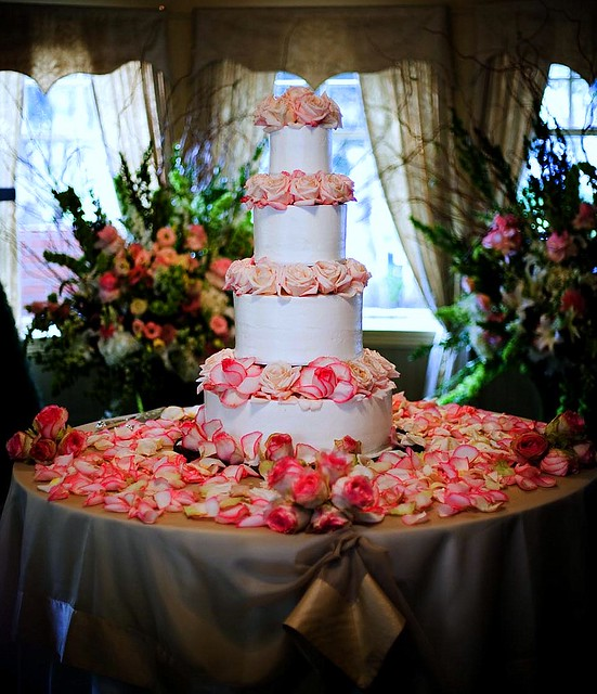 message on cake roses and petals wedding cake simply decorated with 5842