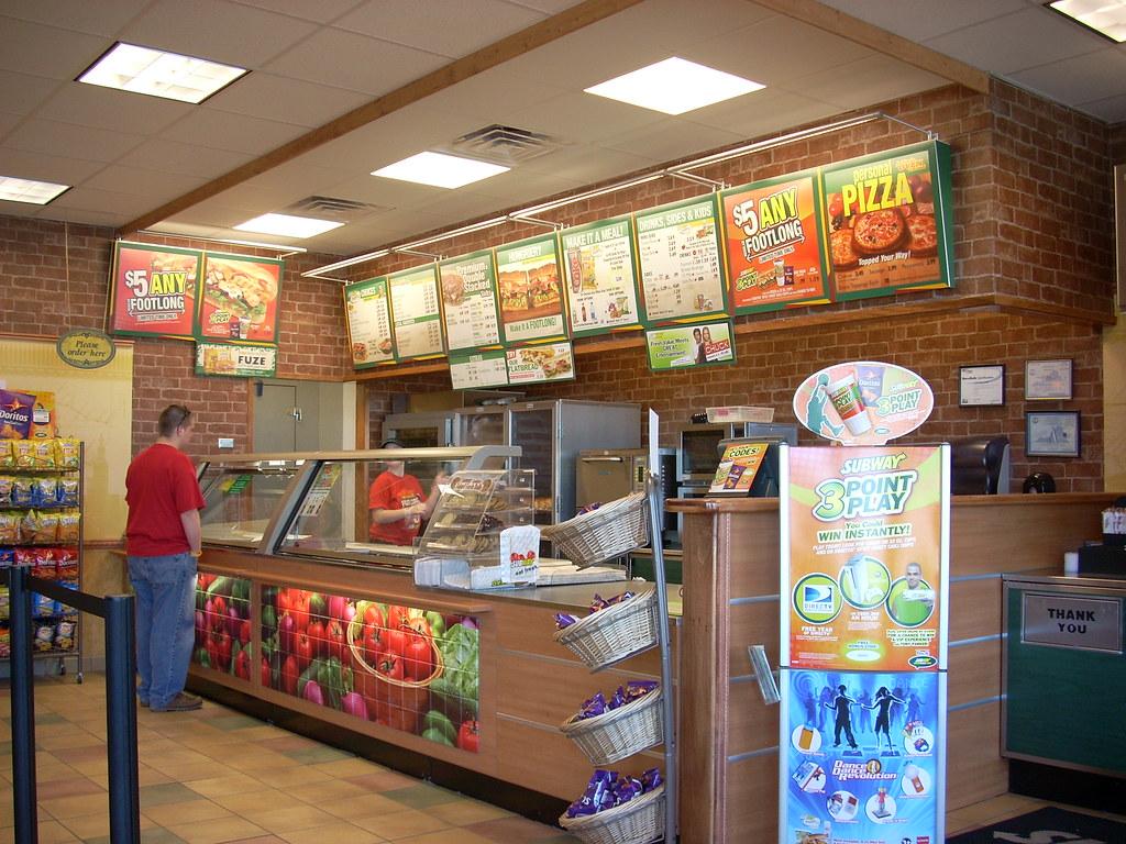 Subway interior the of a restaurant