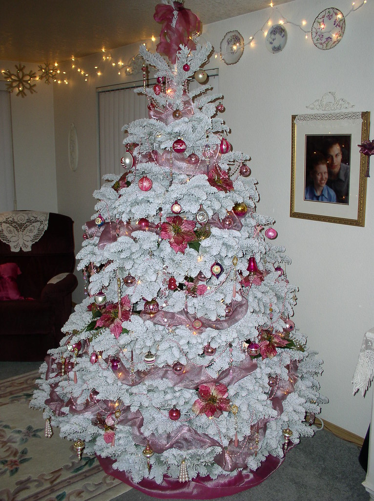Decorated Flocked Christmas Trees