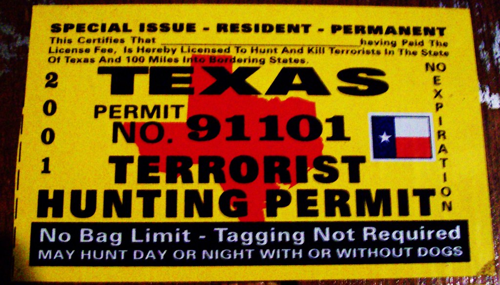 Texas permit terrorist hunting license texas issue for Texas hunting and fishing license