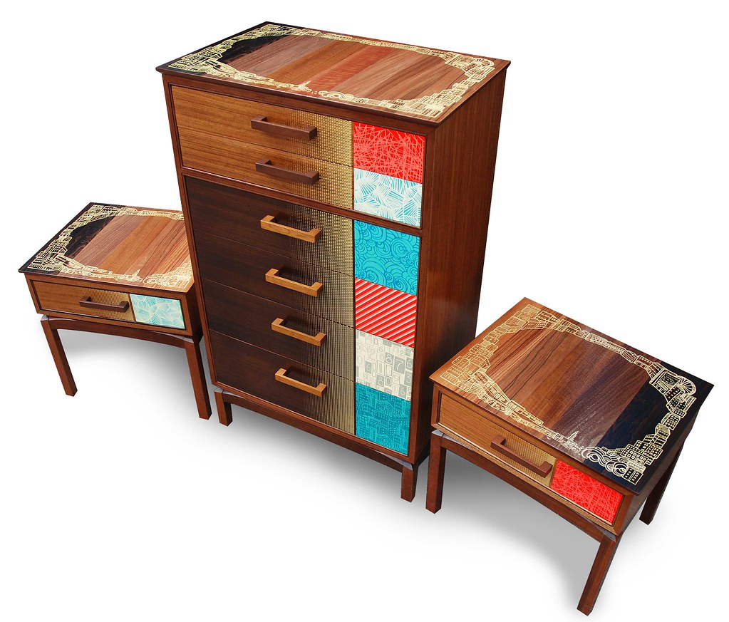 Retro recycled hand printed bedroom set zoe murphy flickr for Furniture upcycling