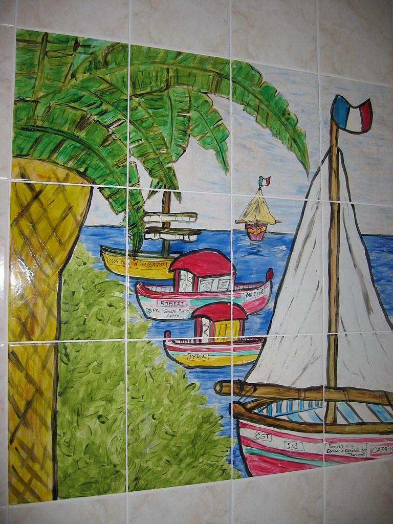 Peinture sur carrelage mer oc an fresque fait main je le for Fresque carrelage