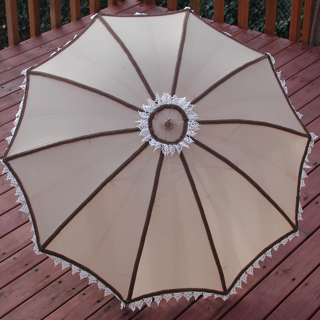 tan vintage parasol with brown trim and ivory vintage lace. Black Bedroom Furniture Sets. Home Design Ideas