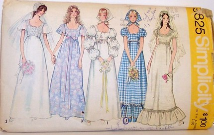 Simplicity 9825 Vintage 70 S Sewing Pattern Wedding Prom F