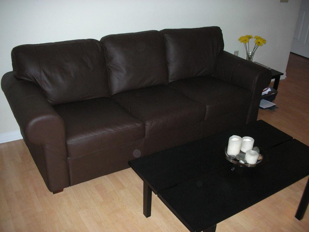 Ikea Brown Leather Sofa Living Room Furniture Sofas