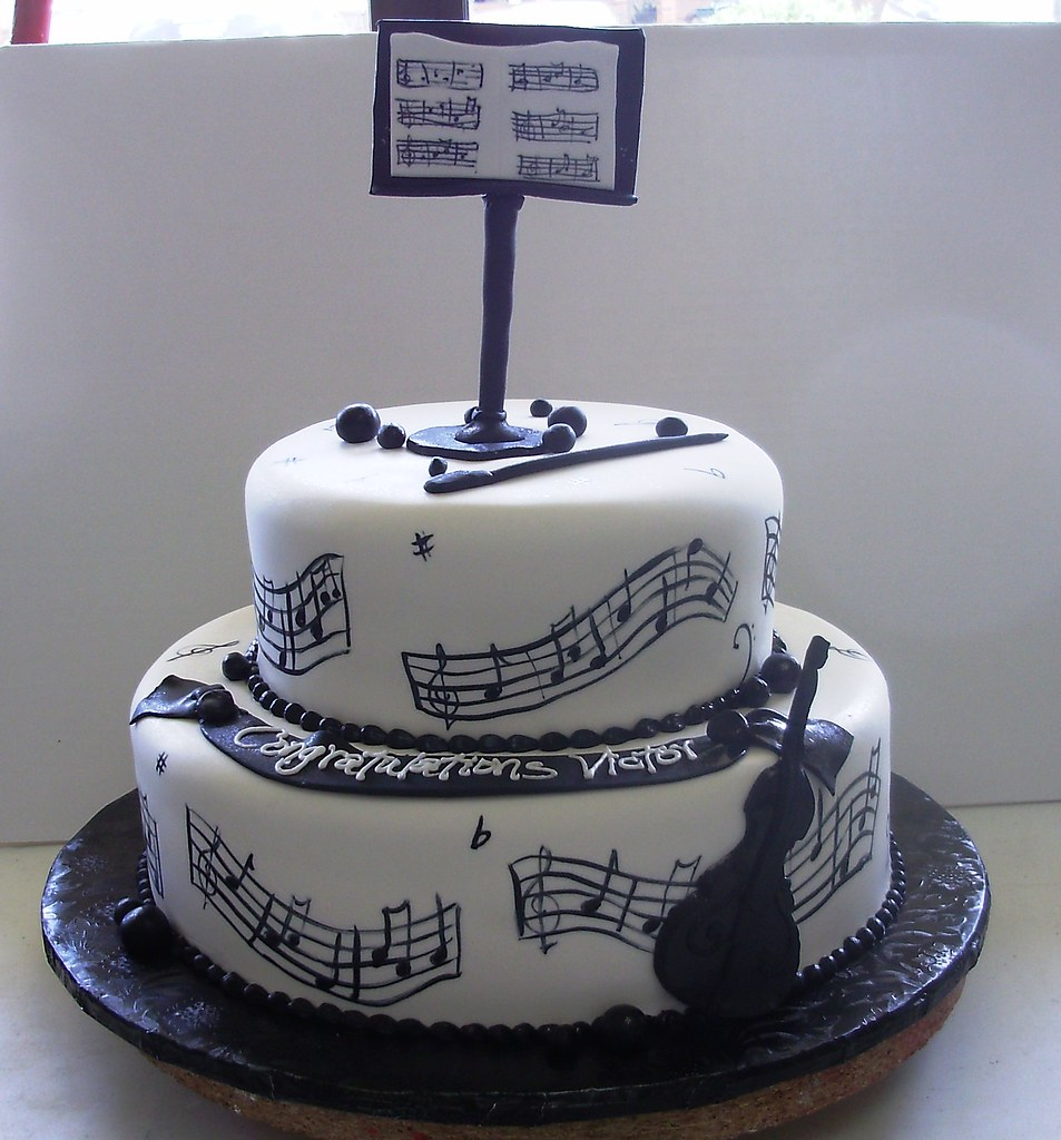 Musical Graduation Cake Two Tiered Fondant Covered Cake