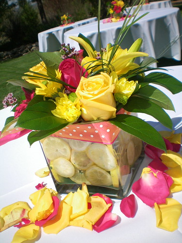 Pink and yellow centerpiece flickr photo sharing - Red and yellow centerpieces ...