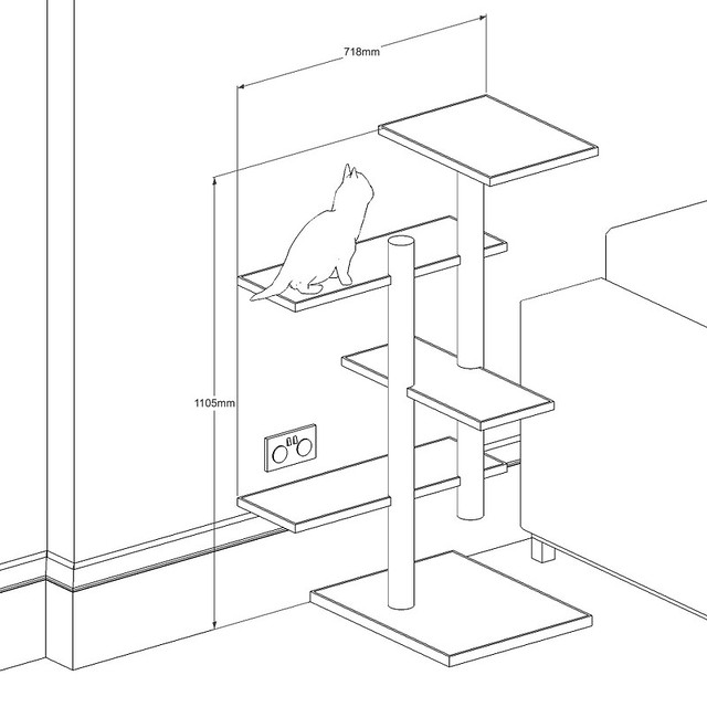 Cat tree drawing i made a little sketchup model to see for Diy cat tree pvc pipe