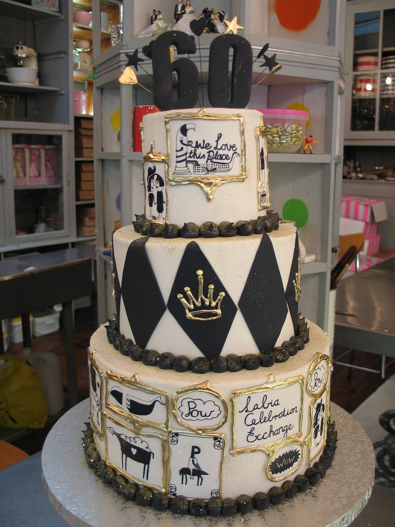 Labia Theatre 60th Birthday Cake In Black White Amp Gold I