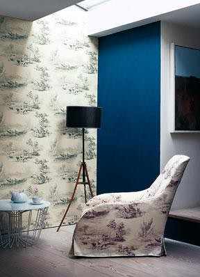 Modern fabric + bold accent wall: Black and white toile ...