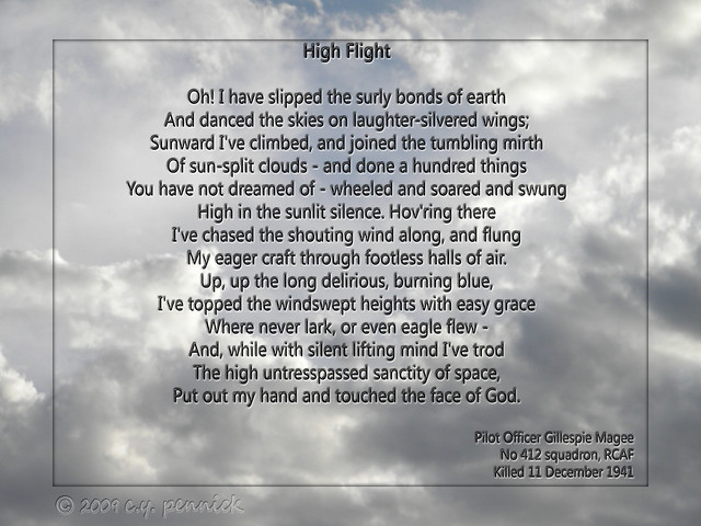 Crafty image within high flight poem printable