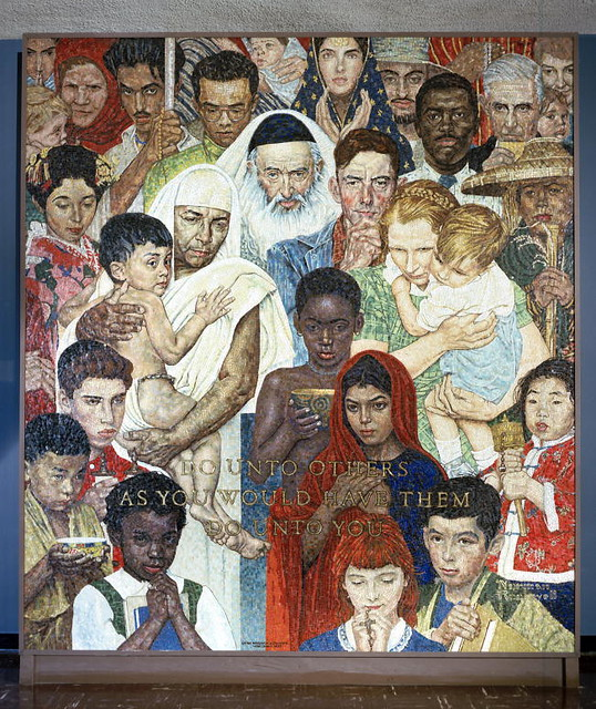 Norman rockwell mosaic the golden rule the mosaic for Golden rule painting