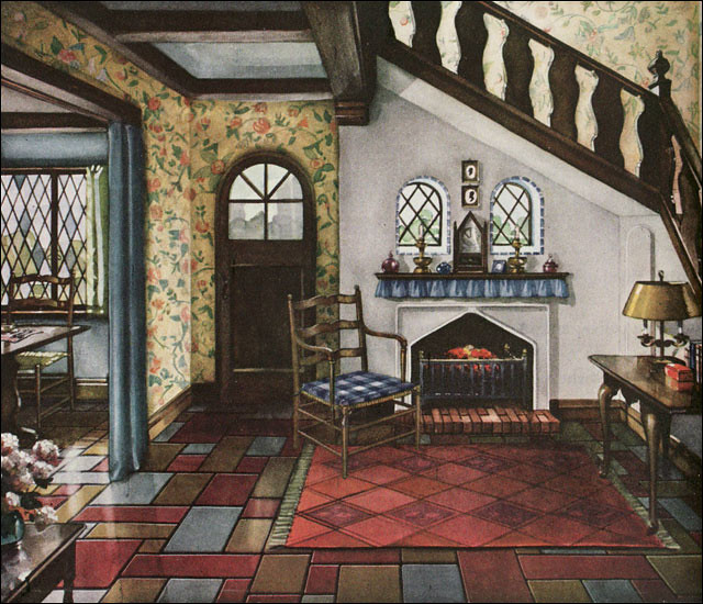 1930 armstrong linoleum english revival style english for Classic american decorating style