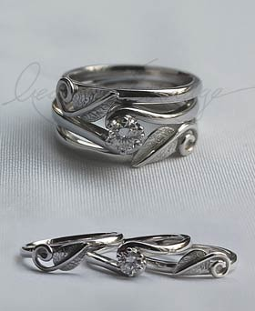 Leaves Handmade Wedding Ring With Engagement