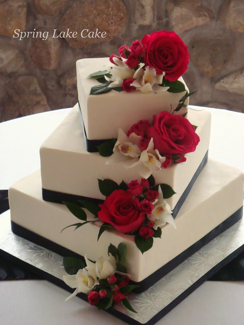 square wedding cakes with ribbon and flowers floral cascade wedding cake flickr photo 20429