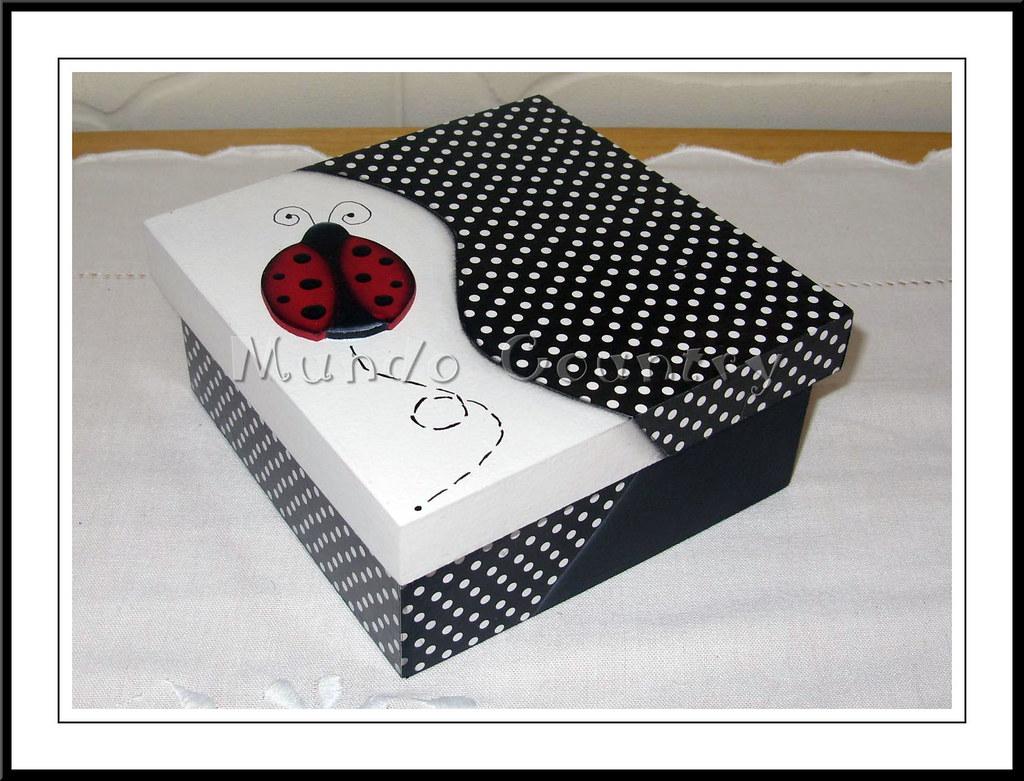 Caixa joaninha caixa em decoupage e pintura country - Pintura para decoupage ...