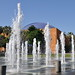 Plaza de Cesar Chavez fountain with Tech Museum in background