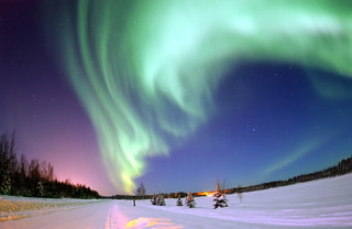 Aurora Borealis, the colored lights seen in the skies around the North Pole, the Northern Lights, from Bear Lake, Alaska, Beautiful Christmas Scene, Winter Star Filled Skies, Scenic Nature | by Beverly & Pack