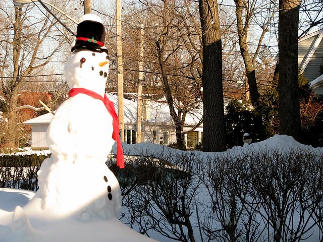 Bonhomme de neige au foulard rouge et chapeau noir flickr photo sharing - Chapeau bonhomme de neige ...