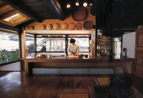 Somewhat modernized kitchen in traditional japanese rural for Japanese kitchen designs