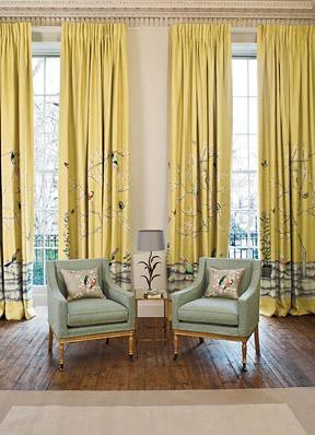 Elegant Living Room High Ceiling Yellow Asian Birds Fab